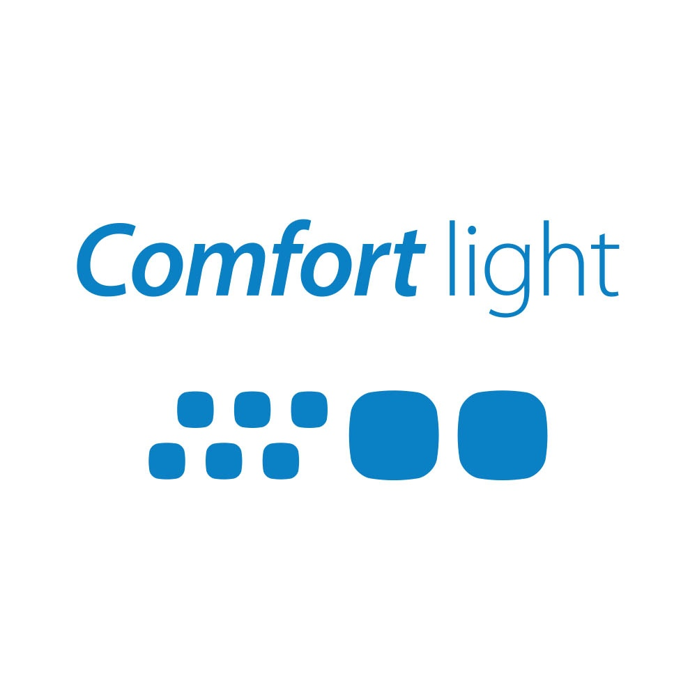 Comfort light logo blue close up